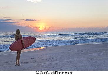 bella donna, surfboard, surfer, spiaggia tramonto, alba