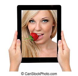 bella donna, tavoletta, aggeggio, fragola, computer, tenere mani, tocco, sexy, biondo, schermo