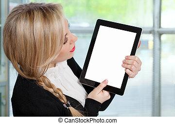 bella donna, tavoletta, ufficio, schermo, isolato, computer, presa a terra