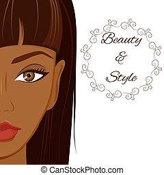 bella donna, truccare, scuro, skin., attraente, africano