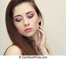 bella donna, trucco, faccia, dall'aspetto, closeup, giù., ritratto