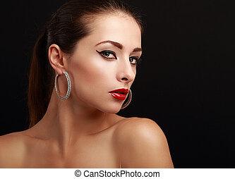 bella donna, trucco, faccia, dall'aspetto, nero, sexy