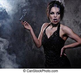 bella donna, vampiro, nero, fumo, vestire