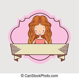 bella donna, vendemmia, decorazione, cartone animato, nastro