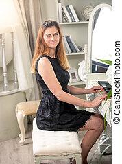 bella donna, vendemmia, interno, pianoforte gioca