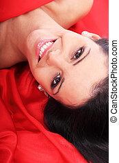 bella donna, vestire, rosso
