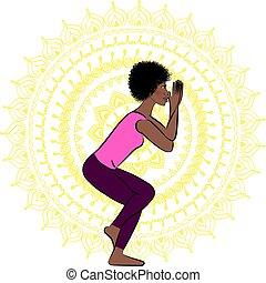 bella donna, vettore, illustrazione, yoga.