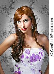 bella donna, viola, vendemmia, fondo, ritratto, vestire, sensuale