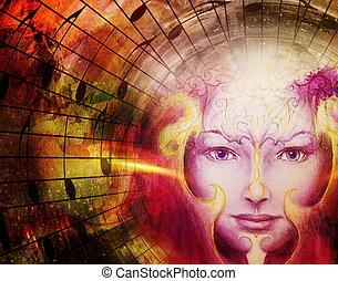 bella faccia, di, mistico, essendo, con, note musica, simbolo, di, il, musa, di, musica, con, phoenix, uccelli, segno, su, testa, in, space.
