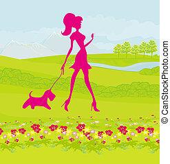 bella ragazza, camminando cane