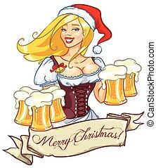 bella ragazza, con, birra, natale, etichetta