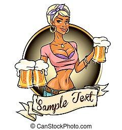 bella ragazza, con, birra