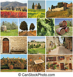 bella, toscana, -, collage