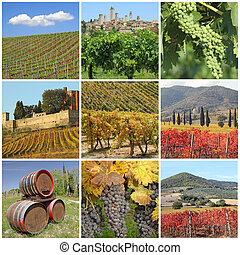 Bella Toscana in autumn - collage with scenic images of ...