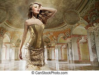 bellas artes, foto, de, un, joven, moda, dama, en, un,...
