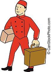 Bellboy Bellhop Carry Luggage Cartoon - Illustration of a...