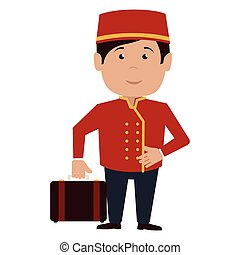 bellboy character hotel service icon vector illustration ...