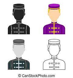 Bellboy icon in cartoon style isolated on white background. Hotel symbol stock vector illustration.
