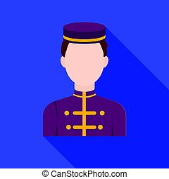 Bellboy icon in flat style isolated on white background. Hotel symbol stock vector illustration.