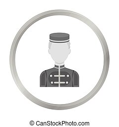 Bellboy icon in monochrome style isolated on white background. Hotel symbol stock vector illustration.