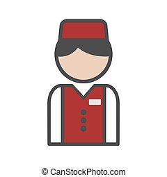 Bellboy icon with red uniform on white background