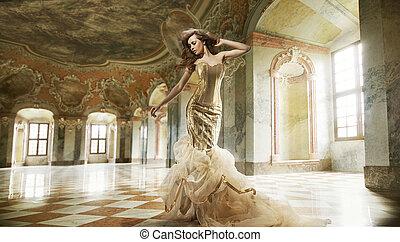 belle arti, foto, di, uno, giovane, moda, signora, in, uno, elegante, interno