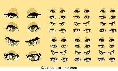 belle donne, occhi, 1
