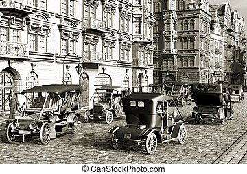 Belle Epoque , old city and autos retro