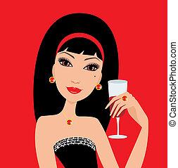 Beau, danse, jeune, verre, fille partie, vin. Belle femme ...