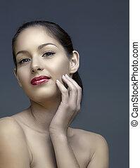 belle femme, à, naturel, maquillage