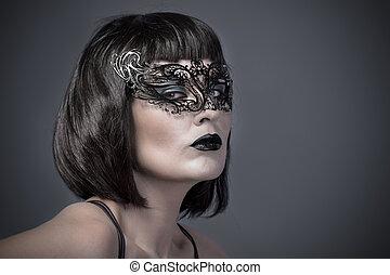 belle femme, à, noir, mystérieux, masque vénitien
