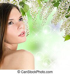 belle femme, à, printemps, colours., skincare