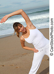 belle femme, étirage, blonds, exercices, plage