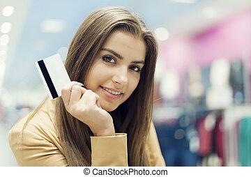 belle femme, achats, crédit, centre commercial, carte