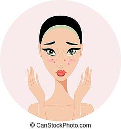 belle femme, acné, problèmes, jeune, peau