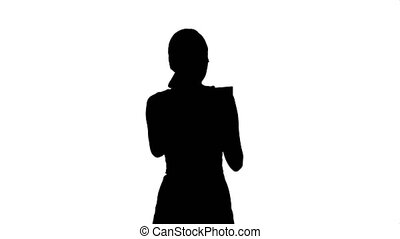 belle femme, application rouge lèvres, chroma, lipson, clef verte, silhouette, écran