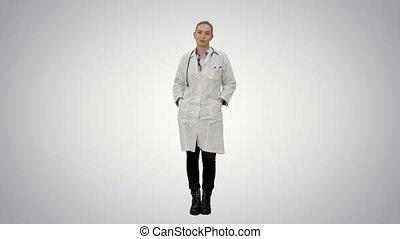 belle femme, arrière-plan., manteau, laboratoire, conversation, appareil photo, blanc, sourire