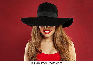 belle femme, arrière-plan., noir, portrait, sourire, chapeau, modèle, rouges, heureux