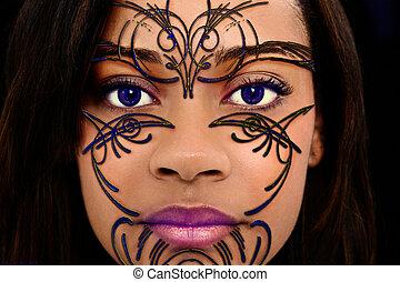 belle femme, art, henné, haut, plastique, noir, fin, figure