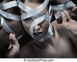 belle femme, art, photo, -, jeune, grain, réflexions, pellicule