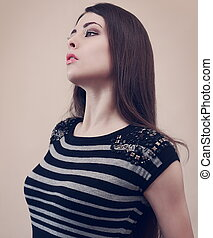 belle femme, art, vendange, maquillage, looking., closeup, portrait