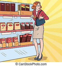 belle femme, art, vol étalage, nourriture, concept., supermarket., pop, vecteur, illustration, voler, kleptomania