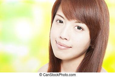 belle femme, asiatique, jeune, figure