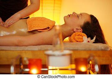 belle femme, avoir, masage