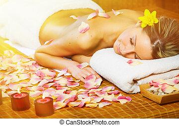belle femme, avoir, massage.