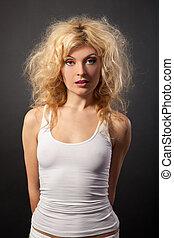 belle femme, beauté, bouclé, portrait., hair.