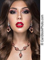 belle femme, beauté, face., lèvres, curls., maquillage, arabe, rouges