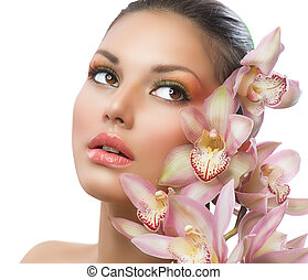 belle femme, beauté, figure, flowers., girl, orchidée