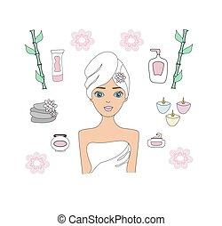 belle femme, beauté, icônes, wellness, treatment., ensemble, spa, procédures