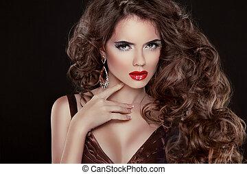 belle femme, beauté, isolé, long, luxueux, cheveux, lèvres, ondulé, portrait., cheveux, fond, sexy, modèle, mode, girl, noir rouge